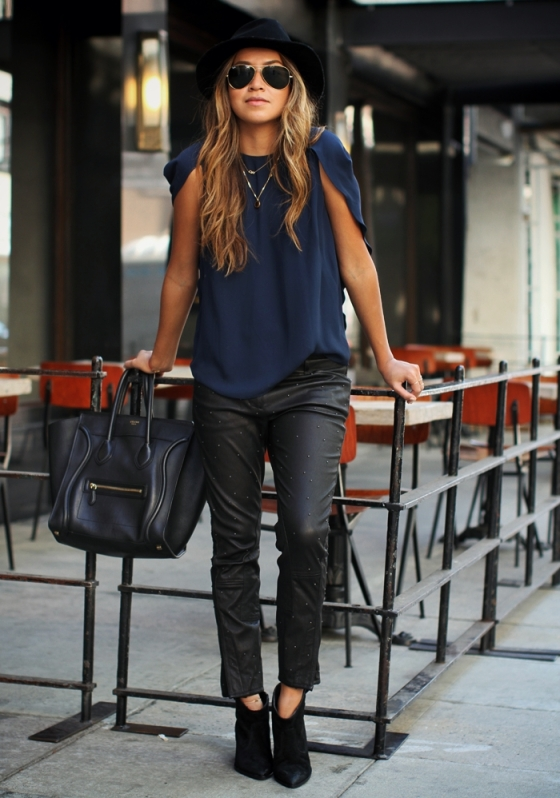 wear - leather:fedora